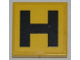 Part No: 3068bpb0439  Name: Tile 2 x 2 with Groove with Black 'H' on Yellow Background Pattern (Sticker) - Set 8186