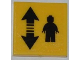 Part No: 3068bpb0473  Name: Tile 2 x 2 with Groove with Black Double Arrow and Minifigure Pattern (Sticker) - Set 3368