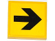 Part No: 3068bpb0771  Name: Tile 2 x 2 with Groove with Arrow Black on Yellow Background Pattern (Sticker) - Set 4207
