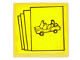 Part No: 3068bpb0876  Name: Tile 2 x 2 with Groove with Yellow Car Brochures Pattern (Sticker) - Set 6390