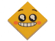 Part No: 3068bpb1236  Name: Tile 2 x 2 with Groove with Face, Smile with Teeth and Open Mouth, Black Eyes with White Pupils, Raised Eyebrows, Orange Cheeks Pattern