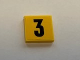 Part No: 3068bpb1257  Name: Tile 2 x 2 with Groove with Black Number 3 on Yellow Background Pattern (Sticker) - Set 60110