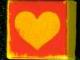 Part No: 3070bpb043  Name: Tile 1 x 1 with Groove with Yellow Heart Pattern