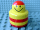 Part No: 31005pb11  Name: Primo Brick, Round Rattle 1 x 1 with Stripes Red and Smiley Face Pattern