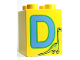 Part No: 31110pb046  Name: Duplo, Brick 2 x 2 x 2 with Letter D and Dinosaur Pattern