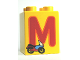 Part No: 31110pb055  Name: Duplo, Brick 2 x 2 x 2 with Letter M and Motorcycle Pattern