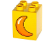 Part No: 31110pb107  Name: Duplo, Brick 2 x 2 x 2 with Orange Moon Crescent Pattern