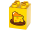 Part No: 31110pb109  Name: Duplo, Brick 2 x 2 x 2 with Wedge of Cheese on Plate Pattern