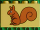 Part No: 31111pb035  Name: Duplo, Brick 2 x 4 x 2 with Squirrel Pattern