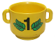 Part No: 31330pb01  Name: Duplo Utensil Kettle with Open Handles, Number 1 and Green Leaves Pattern (Trophy Top)