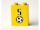 Part No: 3245bpb11  Name: Brick 1 x 2 x 2 with Inside Axle Holder with Number  5 and Soccer Ball (Football) Pattern (Sticker) - Set 3424