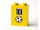 Part No: 3245bpb12  Name: Brick 1 x 2 x 2 with Inside Axle Holder with Number 10 and Soccer Ball (Football) Pattern (Sticker) - Set 3424