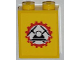 Part No: 3245cpb015  Name: Brick 1 x 2 x 2 with Inside Stud Holder with Miners Logo (Helmet with Crossed Pickaxes in Gear) on Yellow Background Pattern (Sticker) - Set 4202