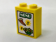 Part No: 3245cpb052  Name: Brick 1 x 2 x 2 with Inside Stud Holder with 'MENU', '2', '3', Pizza Slice and Salad Pattern (Sticker) - Set 60150