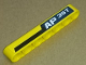 Part No: 32524pb015L  Name: Technic, Liftarm 1 x 7 Thick with 'AP 35T' and Black and Yellow Stripes Pattern Model Left Side (Sticker) - Set 8264