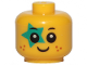Part No: 33464pb05  Name: Minifigure, Baby / Toddler Head with Neck, Black Eyes, White Pupils, Freckles, Smile and Dark Turquoise Star on Right Eye Pattern