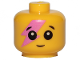 Part No: 33464pb06  Name: Minifigure, Baby / Toddler Head with Neck, Black Eyes, White Pupils, Smile and Dark Pink Lightning on Right Eye Pattern