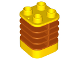 Part No: 35110pb01  Name: Duplo Brick 2 x 2 x 2 Ribbed Flexible with Dark Orange Fins Pattern