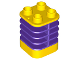 Part No: 35110pb02  Name: Duplo Brick 2 x 2 x 2 Ribbed Flexible with Dark Purple Fins Pattern