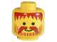 Part No: 3626apb05  Name: Minifigure, Head Beard Vertical Lines with Messy Hair, Moustache Brown Pattern - Solid Stud