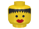 Part No: 3626bp40  Name: Minifigure, Head Female with Messy Black Hair, Thick Red Lips Pattern - Blocked Open Stud