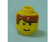 Part No: 3626bpb0016  Name: Minifigure, Head Male Brown Bangs Parted on Right, White Pupils and Smile Pattern - Blocked Open Stud