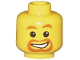 Part No: 3626bpb0023  Name: Minifigure, Head Beard around Mouth, White Smile, White Pupils Pattern - Blocked Open Stud