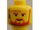 Part No: 3626bpb0024  Name: Minifigure, Head Beard with Brown Trim Beard (forked below mouth) and Eyebrows, Headset Pattern - Blocked Open Stud