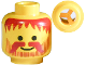 Part No: 3626bpb0025  Name: Minifigure, Head Beard Vertical Lines with Messy Hair, Moustache Dark Red Pattern - Blocked Open Stud