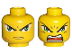 Part No: 3626bpb0027  Name: Minifigure, Head Dual Sided Exo-Force Green Eyes with Frown and Scar / Open Mouth Pattern (Takeshi) - Blocked Open Stud