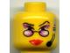 Part No: 3626bpb0047  Name: Minifigure, Head Female Glasses Reading, Red Lips, Purple Eye Shadow, Headset Pattern - Blocked Open Stud