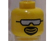 Part No: 3626bpb0098  Name: Minifigure, Head Glasses with Silver Sunglasses and Goatee Pattern - Blocked Open Stud