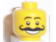 Part No: 3626bpb0174  Name: Minifigure, Head Moustache Curly Long Thick, White Grin, Raised Eyebrows Pattern - Blocked Open Stud