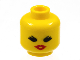 Part No: 3626bpb0175  Name: Minifigure, Head Female with Red Lips, Open Mouth, Thick Eyelashes Pattern - Blocked Open Stud