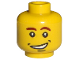 Part No: 3626bpb0181  Name: Minifigure, Head Male Brown Eyebrows (Left Curved Down), Open Side Smile with Dimples Pattern - Blocked Open Stud