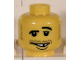 Part No: 3626bpb0186  Name: Minifigure, Head Moustache Raised Eyebrow, White Teeth with Missing Tooth and Lower Lip Pattern - Blocked Open Stud