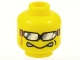 Part No: 3626bpb0189  Name: Minifigure, Head Glasses with Silver Sunglasses with Ribbon, Aggravated Grin Pattern - Blocked Open Stud
