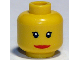 Part No: 3626bpb0190  Name: Minifigure, Head Female with Red Lips, Wide Smile, Small Eyelashes Pattern - Blocked Open Stud