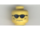 Part No: 3626bpb0191  Name: Minifigure, Head Glasses with Blue Sunglasses, Grim Face with Cheek Lines Pattern - Blocked Open Stud