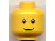 Part No: 3626bpb0195  Name: Minifigure, Head Male Thin Grin, Black Eyes with White Pupils, No Eyebrows Pattern - Blocked Open Stud
