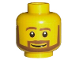 Part No: 3626bpb0196  Name: Minifigure, Head Beard Brown Angular with White Pupils and Grin Pattern - Blocked Open Stud