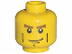 Part No: 3626bpb0204  Name: Minifigure, Head Male Brown Eyebrows, White Pupils, Vertical Cheek Lines, Chin Dimple Pattern - Blocked Open Stud