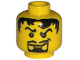 Part No: 3626bpb0216  Name: Minifigure, Head Male Pupils, Black Hair, Curly Eyebrows, Goatee Pattern - Blocked Open Stud