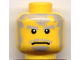 Part No: 3626bpb0223  Name: Minifigure, Head Beard and Messy Gray Hair, Wide Frown, White Pupils Pattern (The Guardian) - Blocked Open Stud