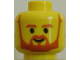 Part No: 3626bpb0249  Name: Minifigure, Head Beard with Brown Trim Beard (forked below mouth) and Eyebrows Pattern - Blocked Open Stud