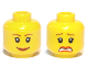 Part No: 3626bpb0271  Name: Minifigure, Head Dual Sided Female Brown Eyebrows, Scared / Smile Pattern - Blocked Open Stud