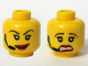 Part No: 3626bpb0295  Name: Minifigure, Head Dual Sided Female Red Lips, Headset, Scared / Smile Pattern - Blocked Open Stud