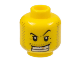 Part No: 3626bpb0302  Name: Minifigure, Head Male Arched Eyebrow, White Teeth with Gold Tooth, Coarse Stubble Pattern - Blocked Open Stud