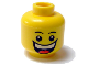 Part No: 3626bpb0320  Name: Minifigure, Head Male Huge Grin, White Pupils, Eyebrows Pattern - Blocked Open Stud