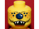 Part No: 3626bpb0329  Name: Minifigure, Head Alien with Single Eye, Spots, and Jagged Teeth Pattern - Blocked Open Stud